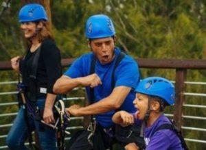 Ziplining with kids